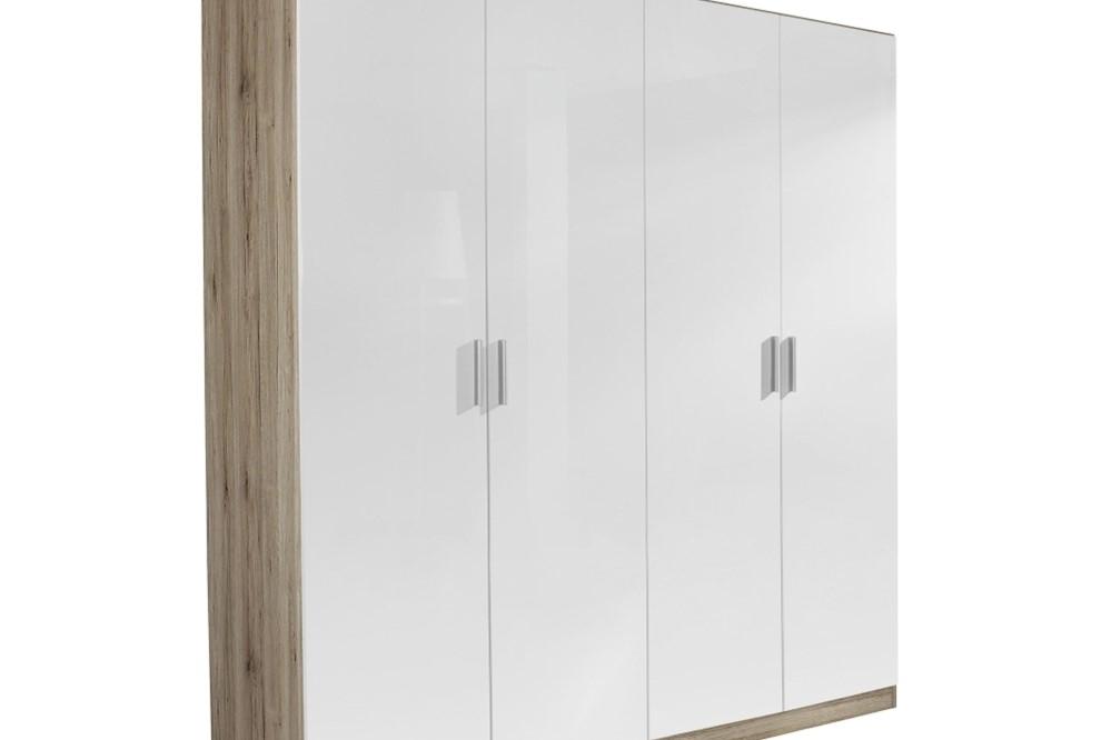Drehtürenschrank CELLE weiß / Eiche Sanremo 181 x 210 x 54 cm