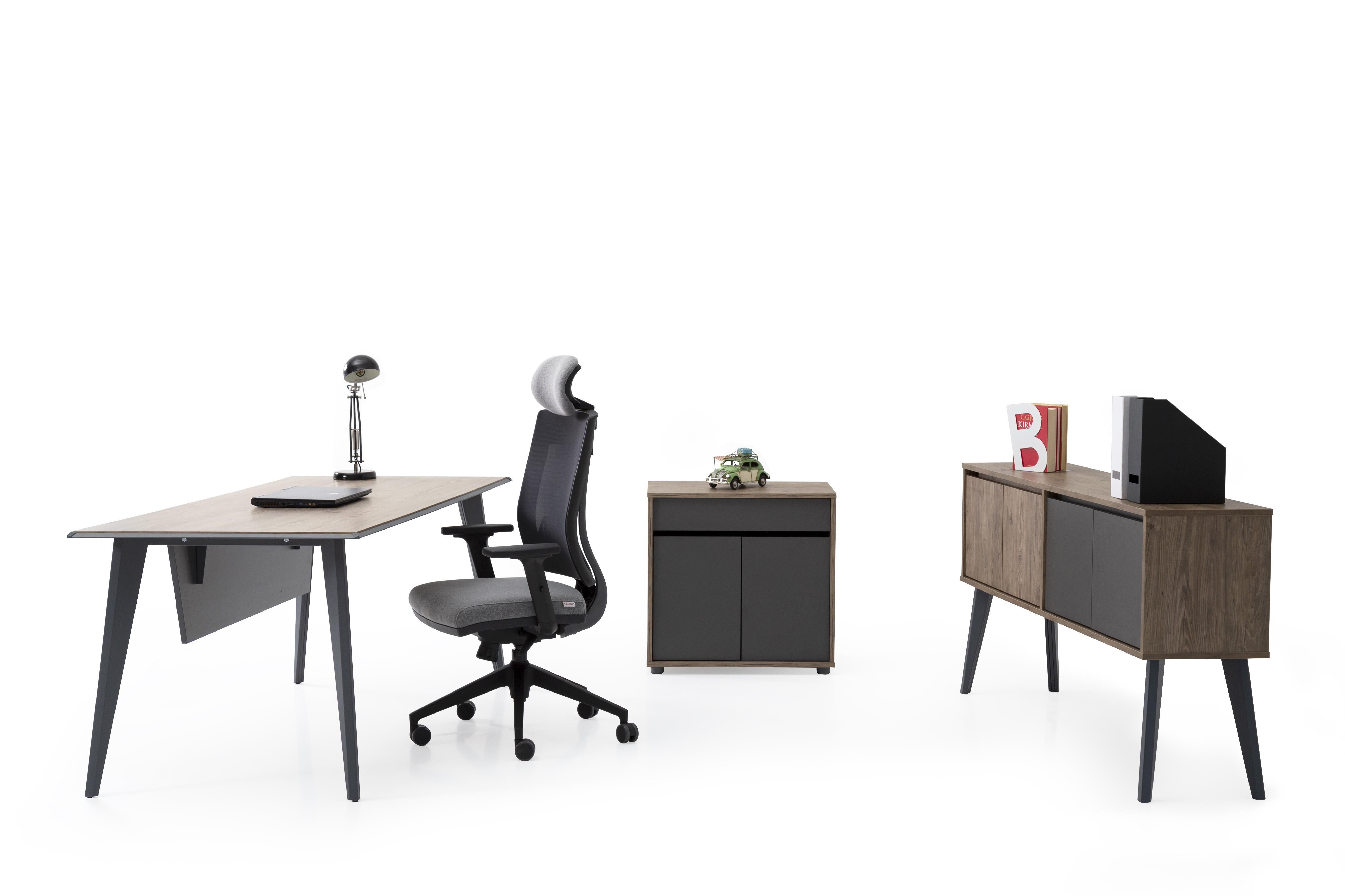 Ovali Schreibtisch Set 3-teilig Eco Holzoptik 140x80 cm