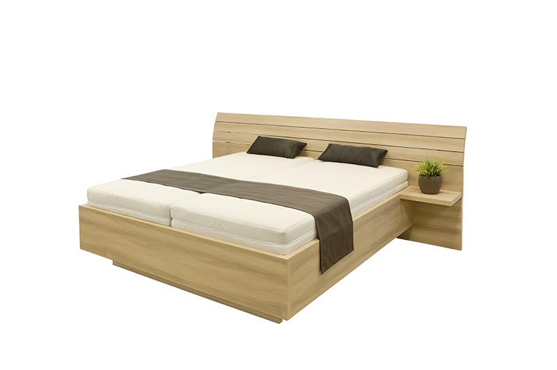 Schwebendes Bett Rielle Breit 180x190 Eiche Weiß