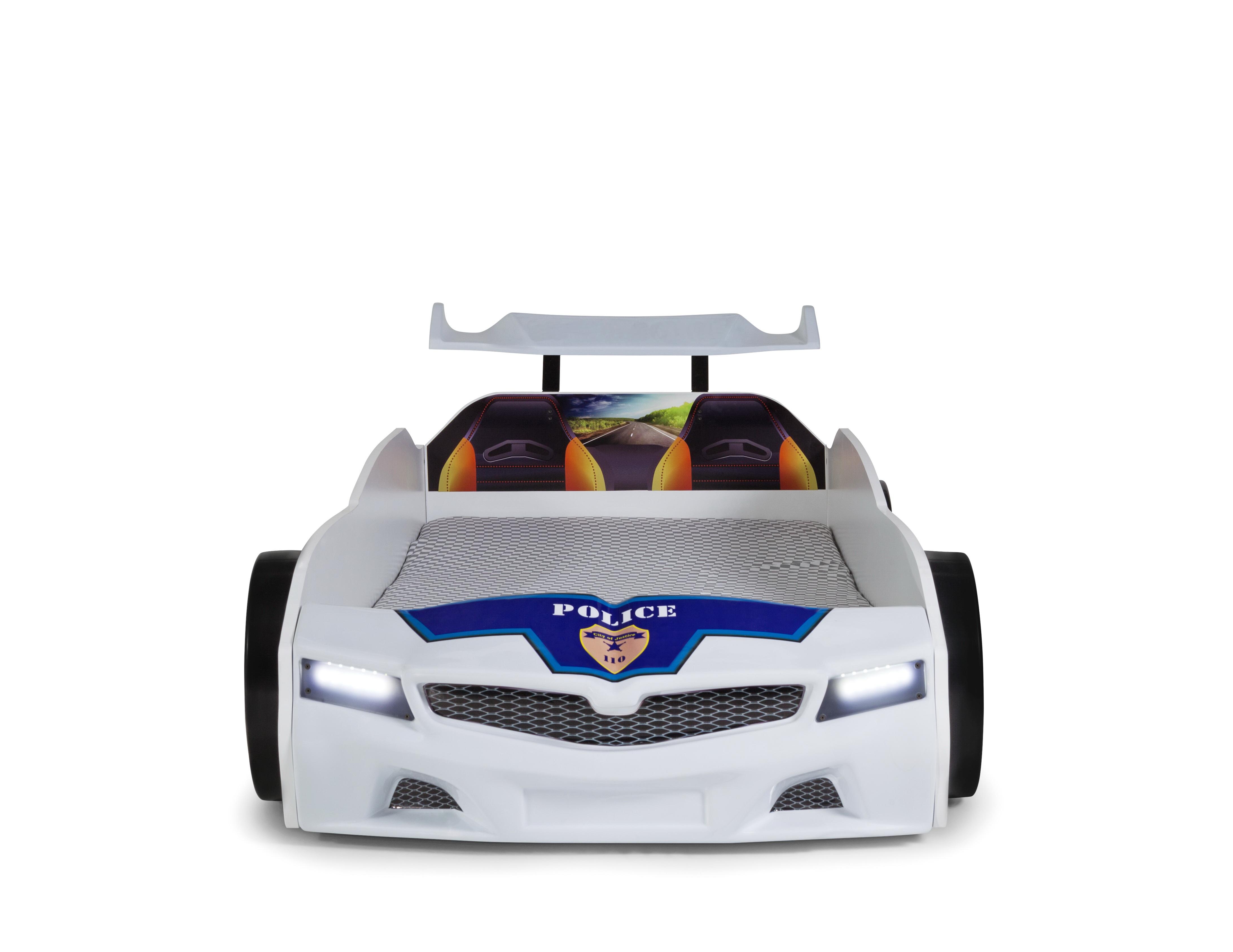 Autobett SPX Police mit blinkendem Blau-Rotlicht Ausstellungsstück