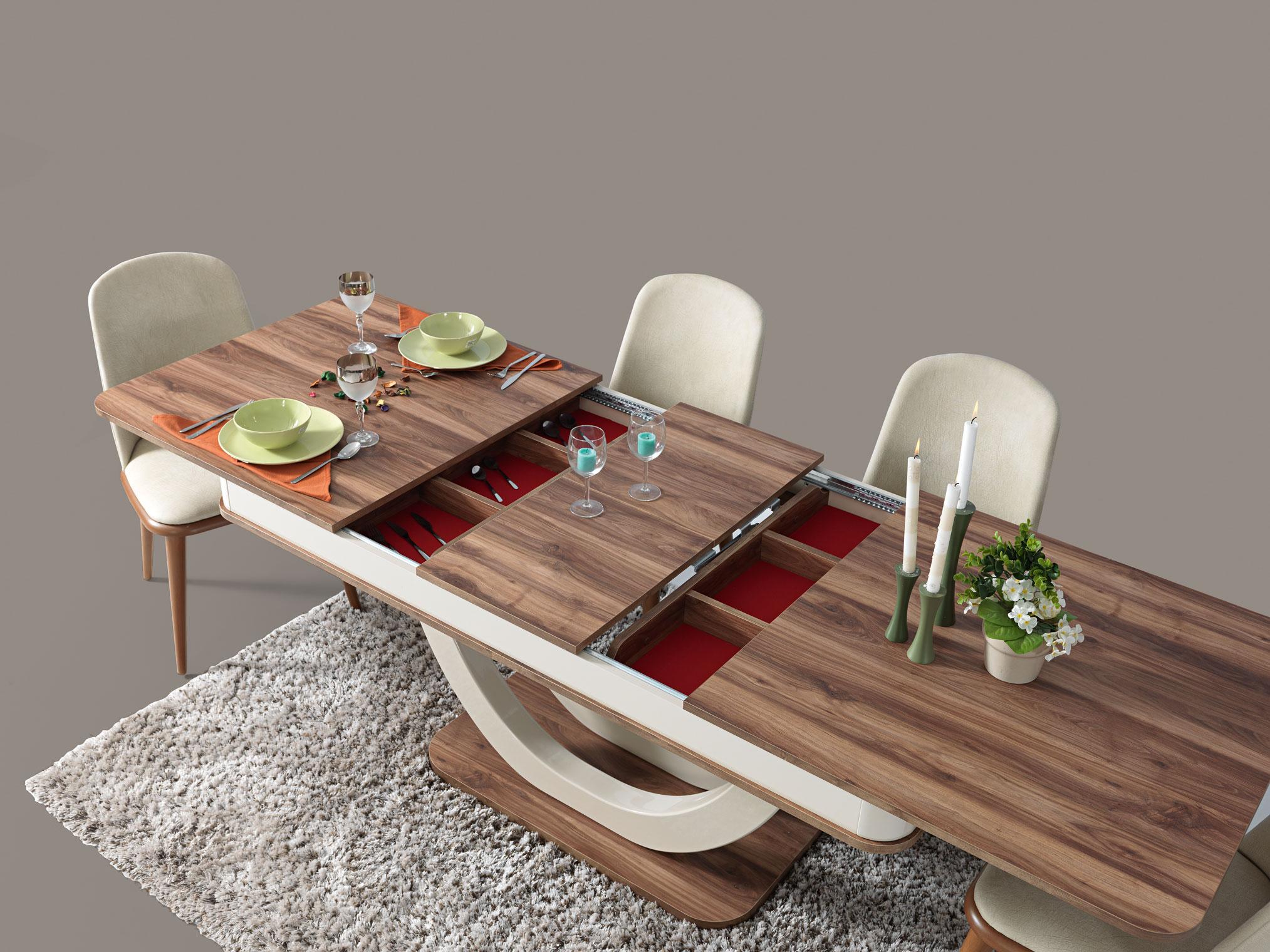 Lidya ausziehbarer Esszimmertisch Panama in Holzoptik