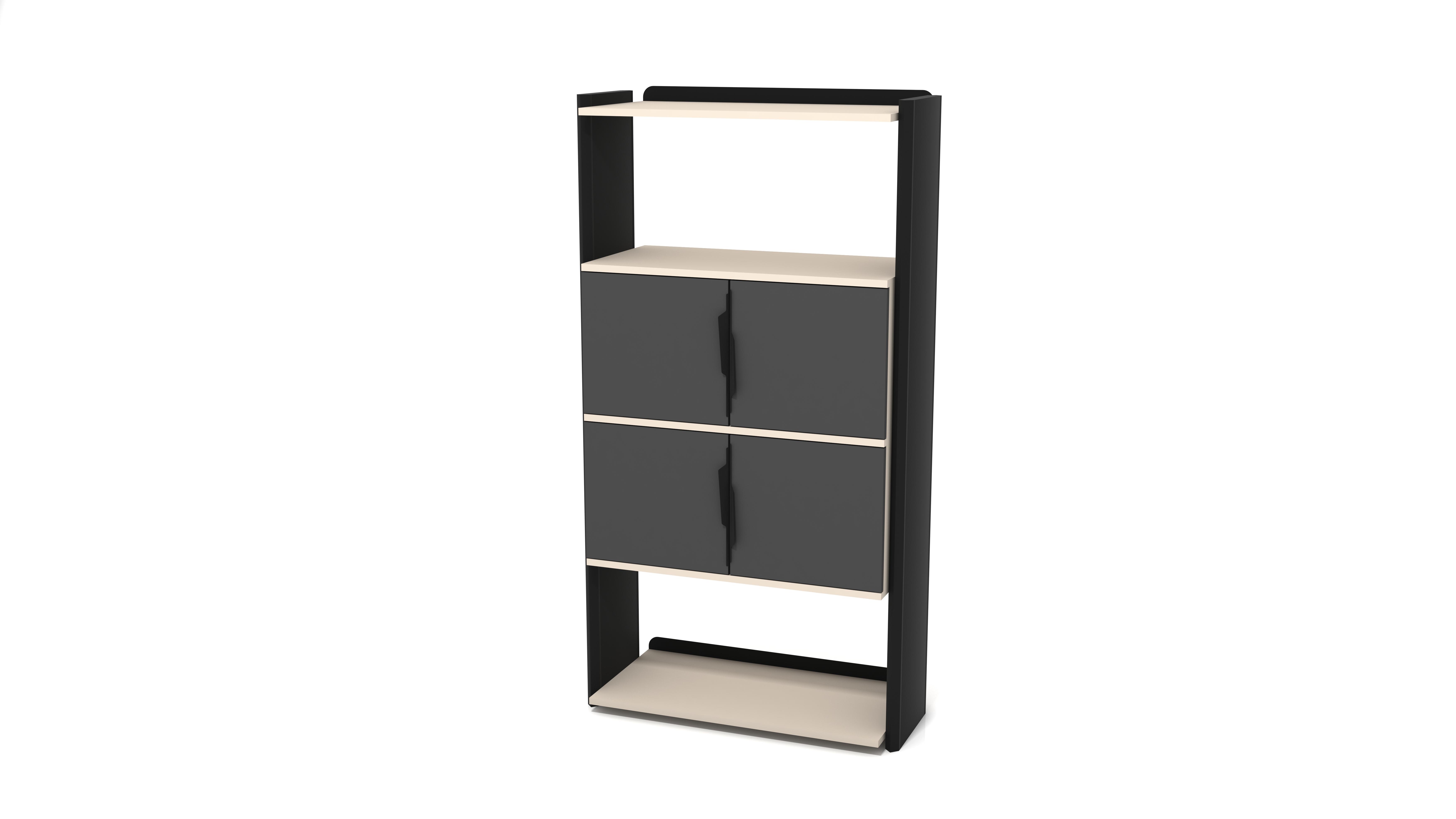Ovali Bücherregal 4-Fächer Prime Schwarz Creme