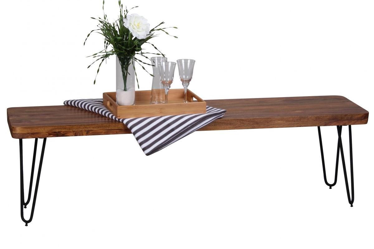 Massivholz Sheesham Sitzbank 160 x 40 x 45 cm