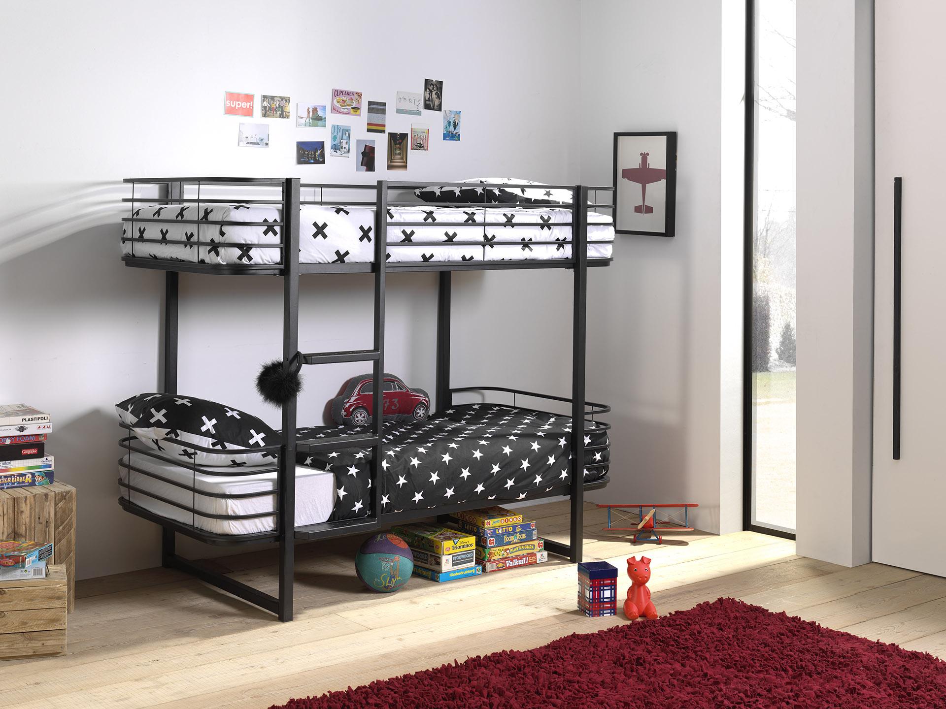 Stockbett aus Metall Schwarz Olia 90x200