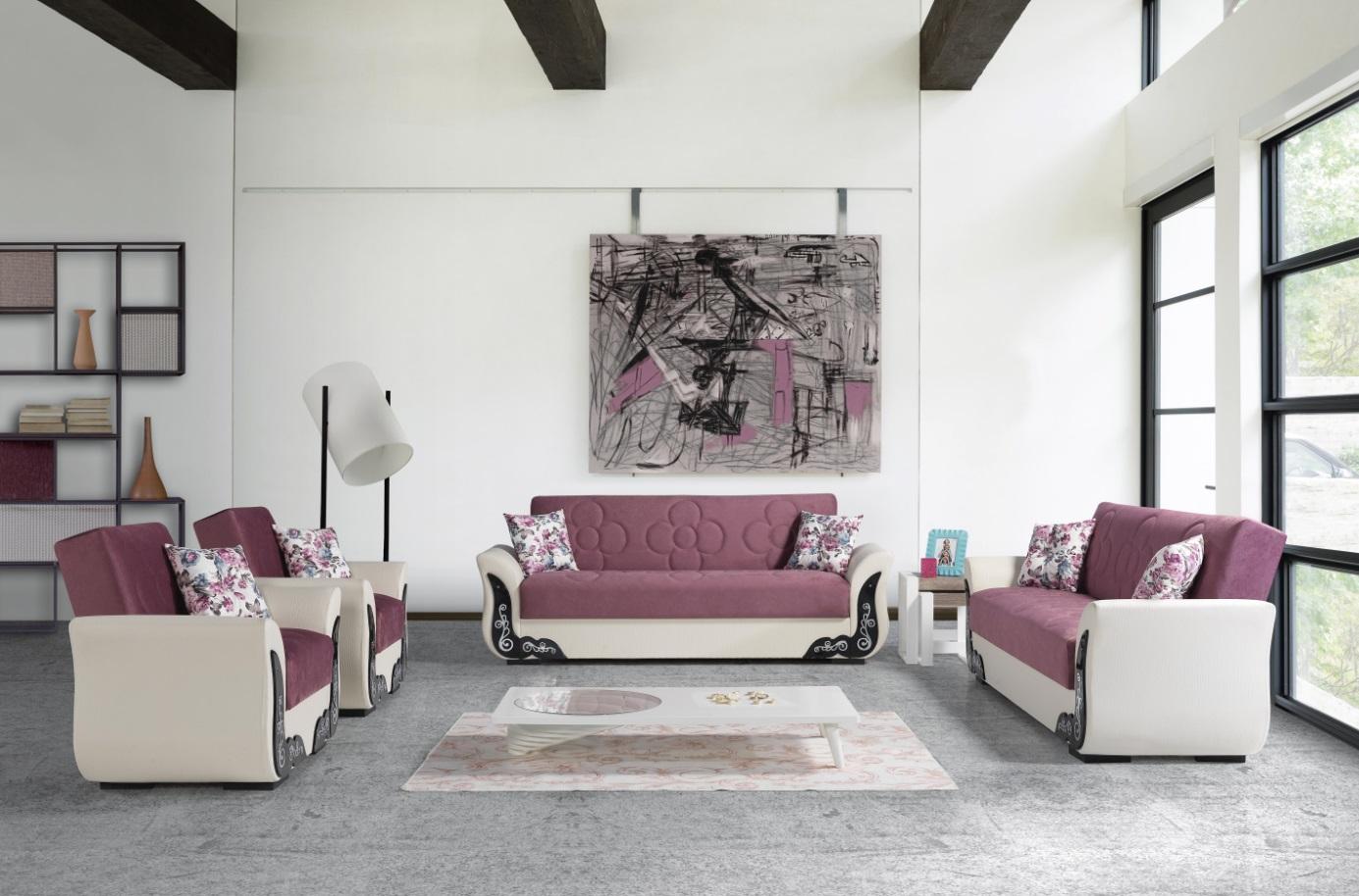 Windy Couch Garnitur mit Schlaffunktion Rosa ECE
