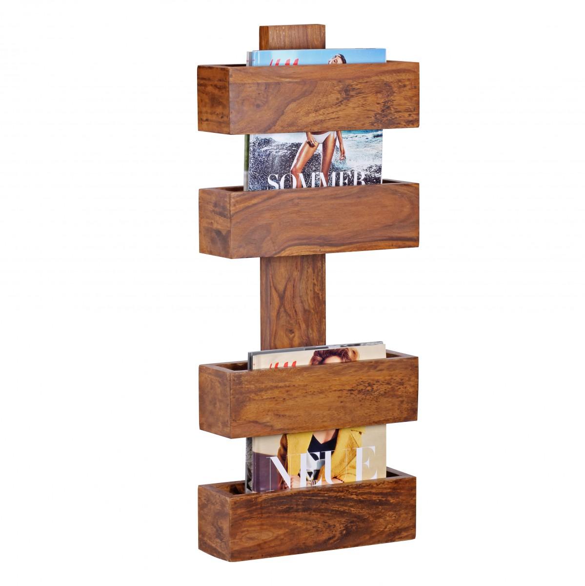 Massivholz Sheesham Wandregal Zeitungshalter 30 x 10 cm Neu