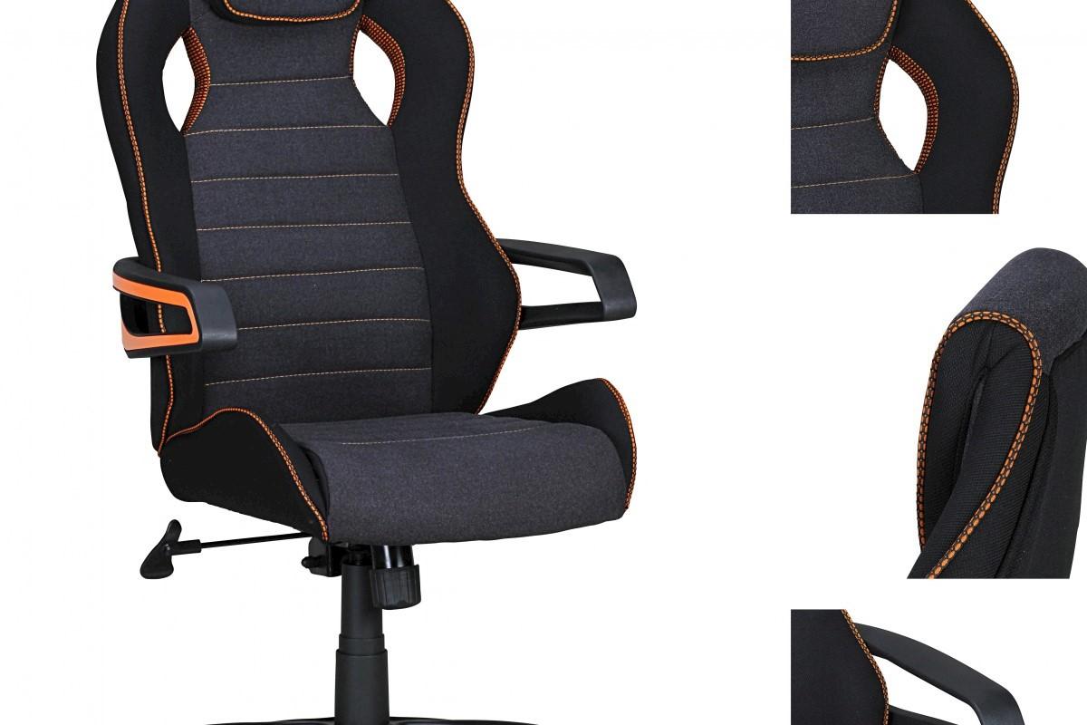 Valentino Racing Chefsessel Orange-Line schwarz grau