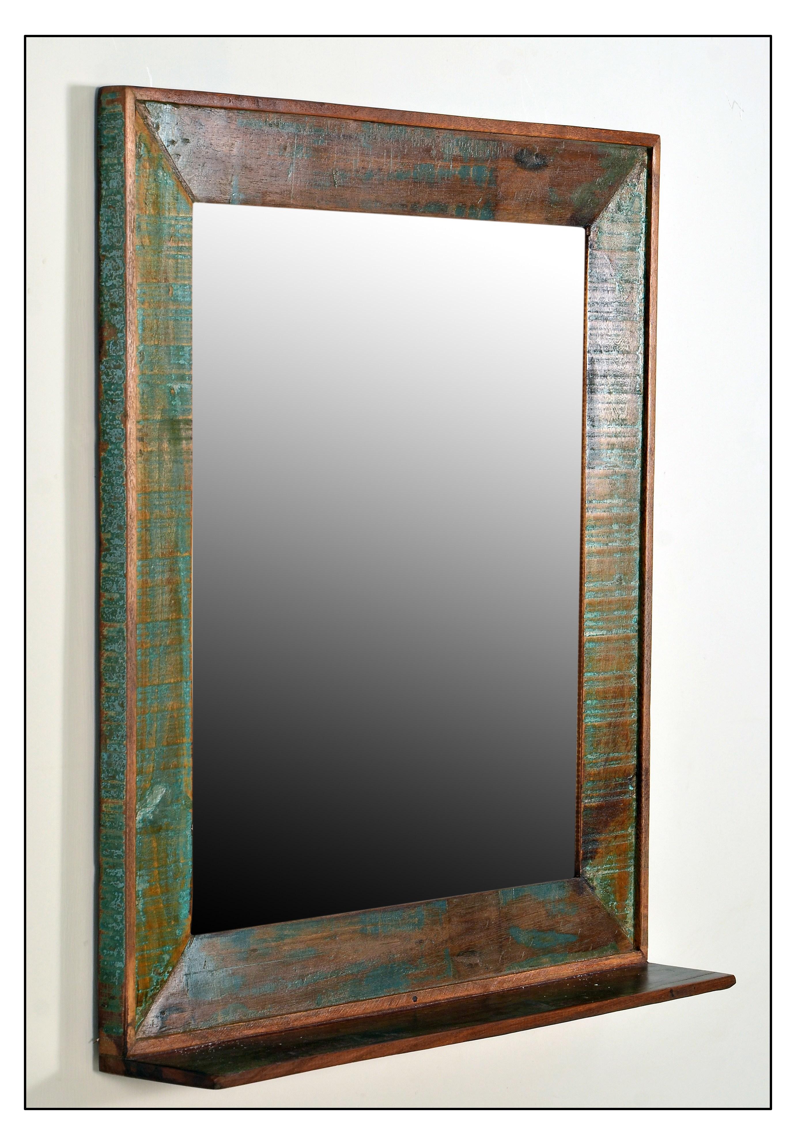 Wandspiegel Melodin 68x8 aus buntem Altholz