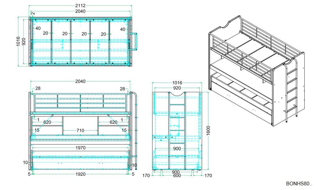 Bonny Hochbett mit Schreibtisch 90x200 in Silbergau