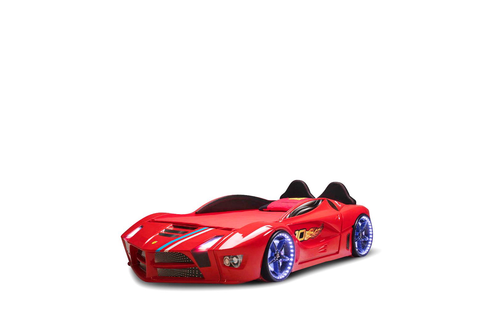 Autobett in Rot Luxury mit LED Beleuchtung