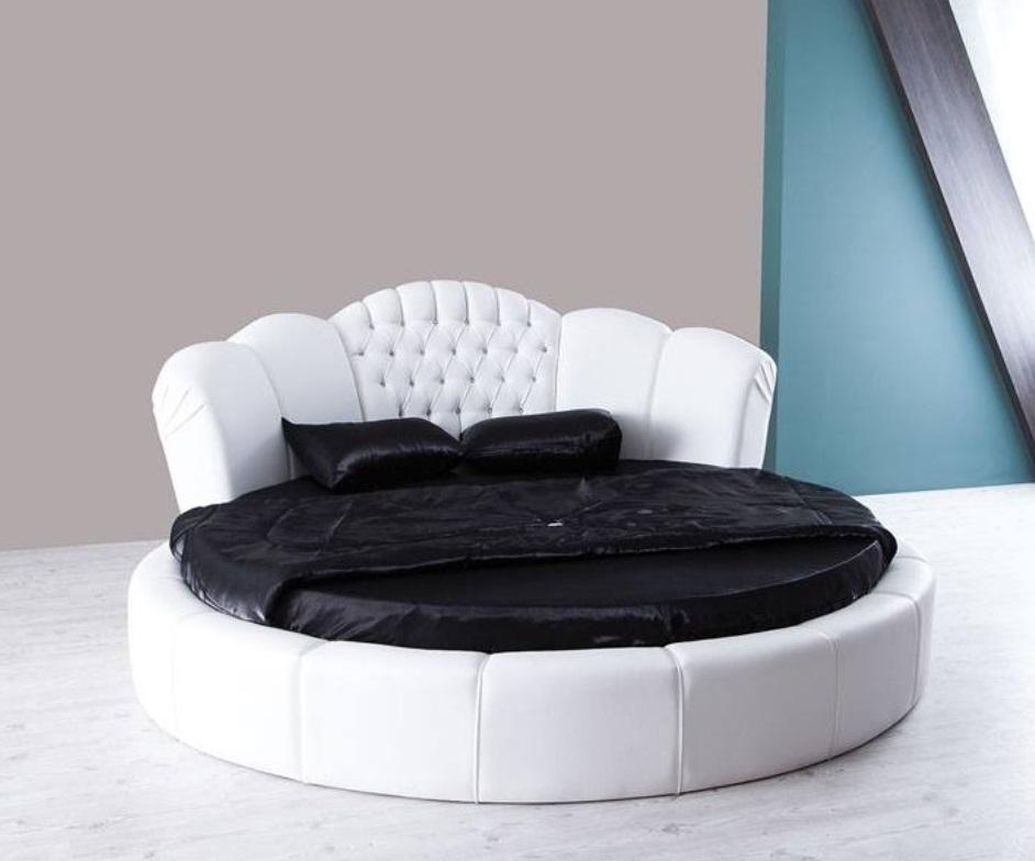 Rundes Bett in Weiß mit Matratze Kardelen