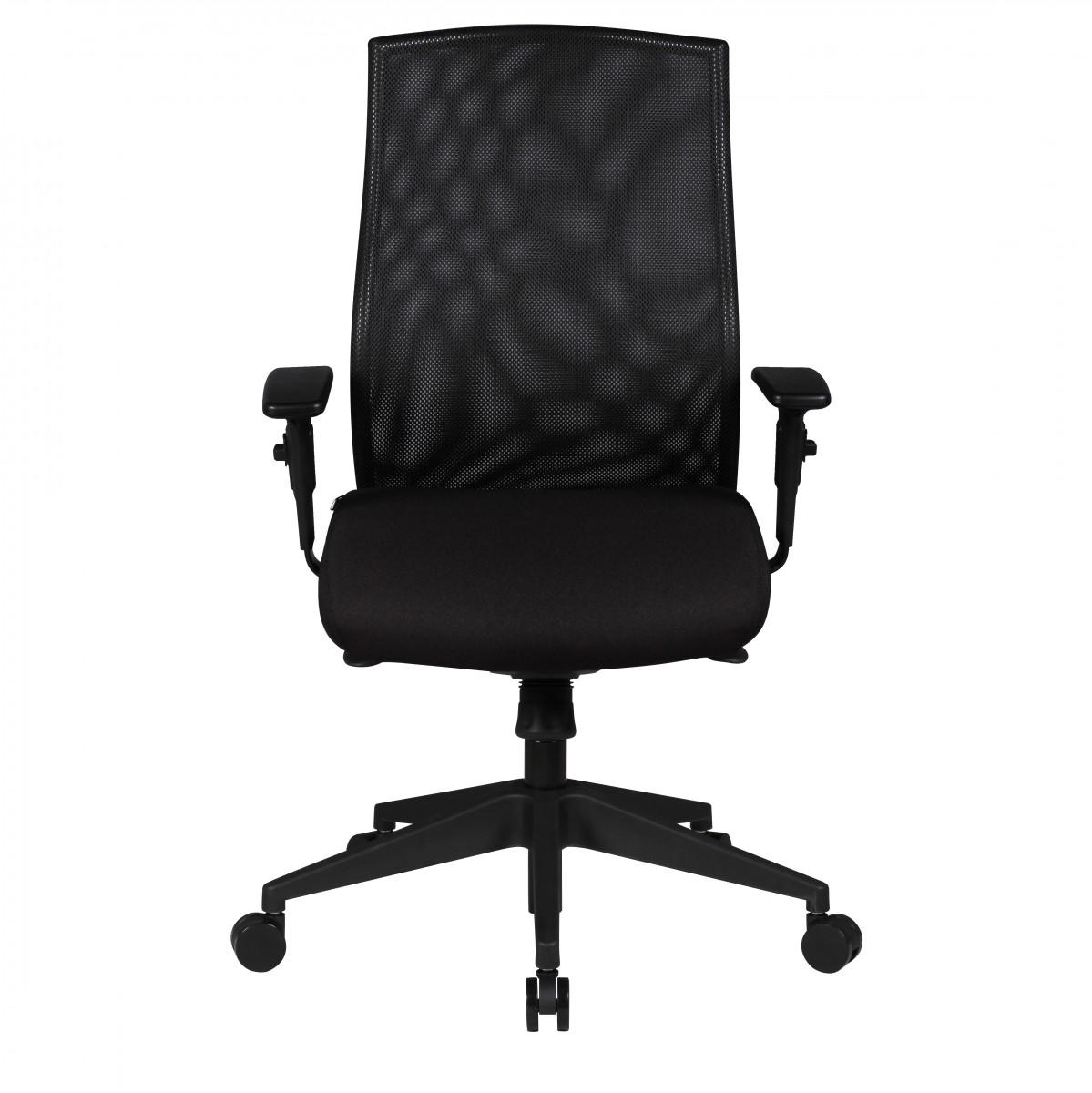 Bürostuhl David Stoffbezug schwarz Drehstuhl mit 3-Punkt Synchronmechanik