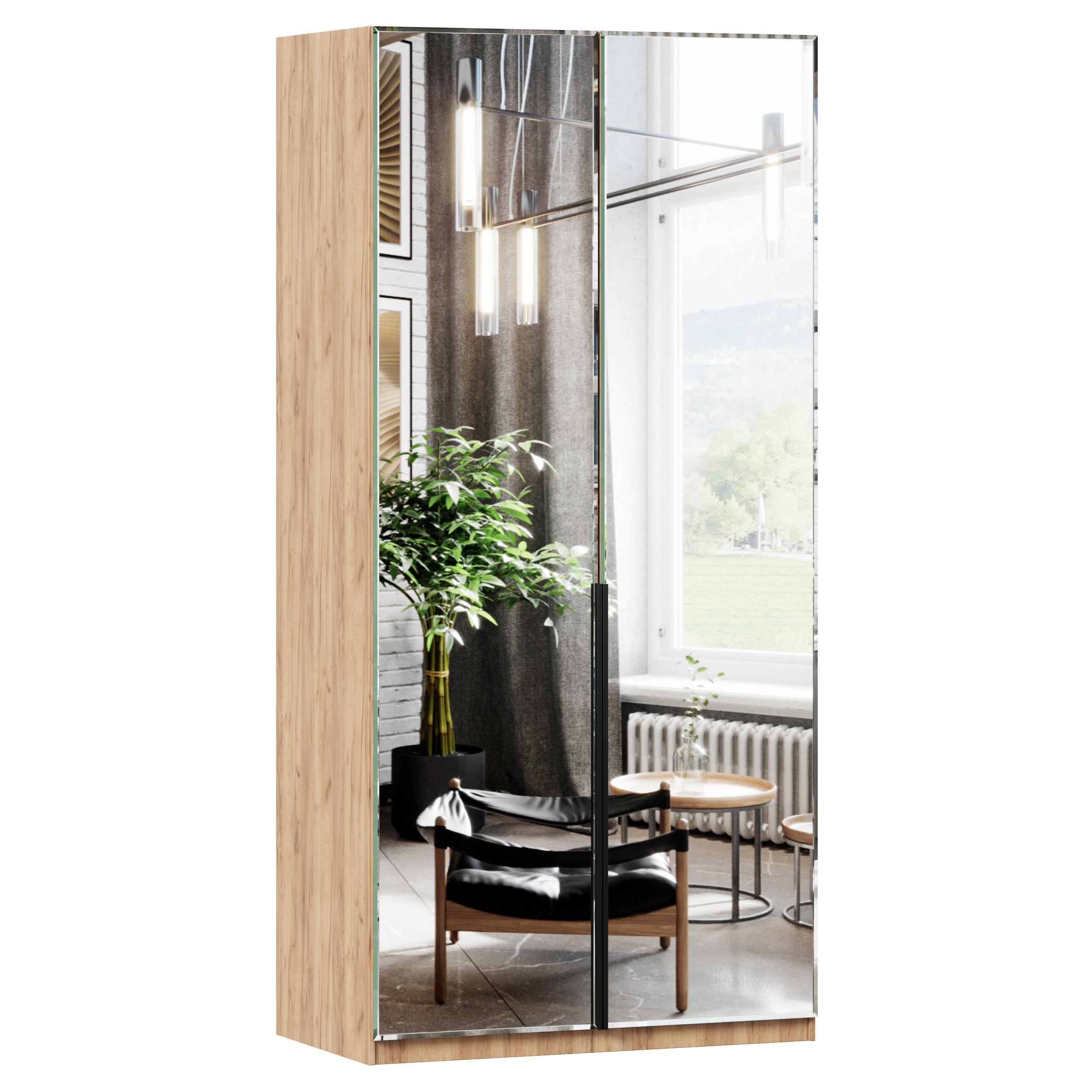 Lubidom Kleiderschrank Nord mit Spiegeltüren in Eiche