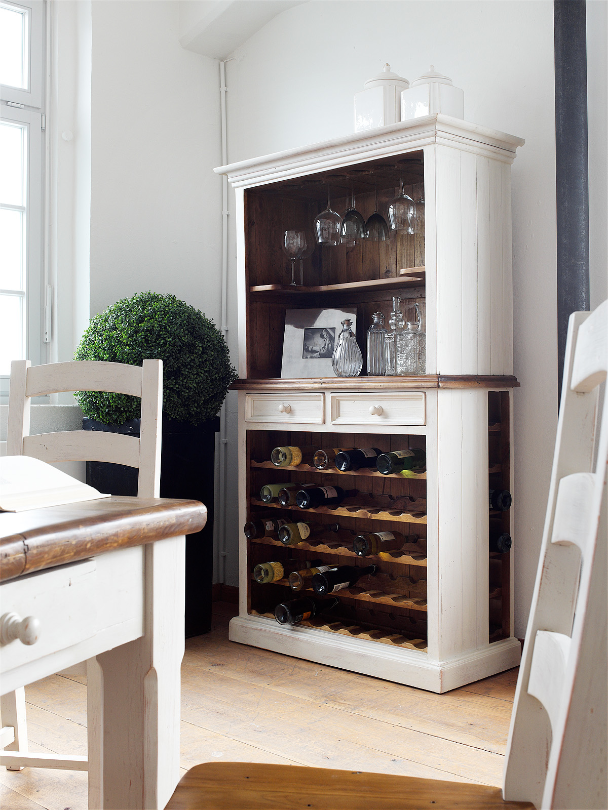 Bode Regal Landhausstil Kiefer massiv weiß