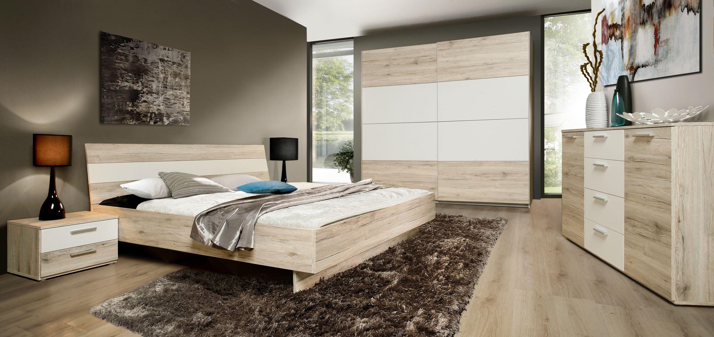 Schlafzimmer in Sandeiche Weiß Janette 4-teilig