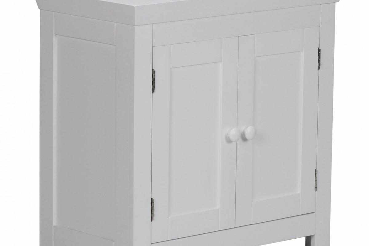 Badezimmerschrank in Weiß mit 2 Türen im Holzdesign