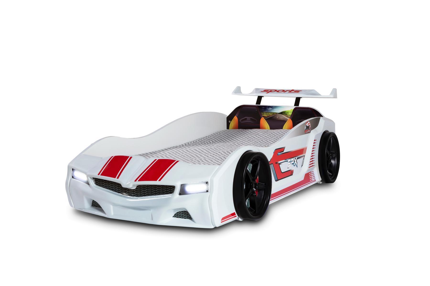 Kinder Autobett Bumer SPX weiß mit LED Scheinwerfer