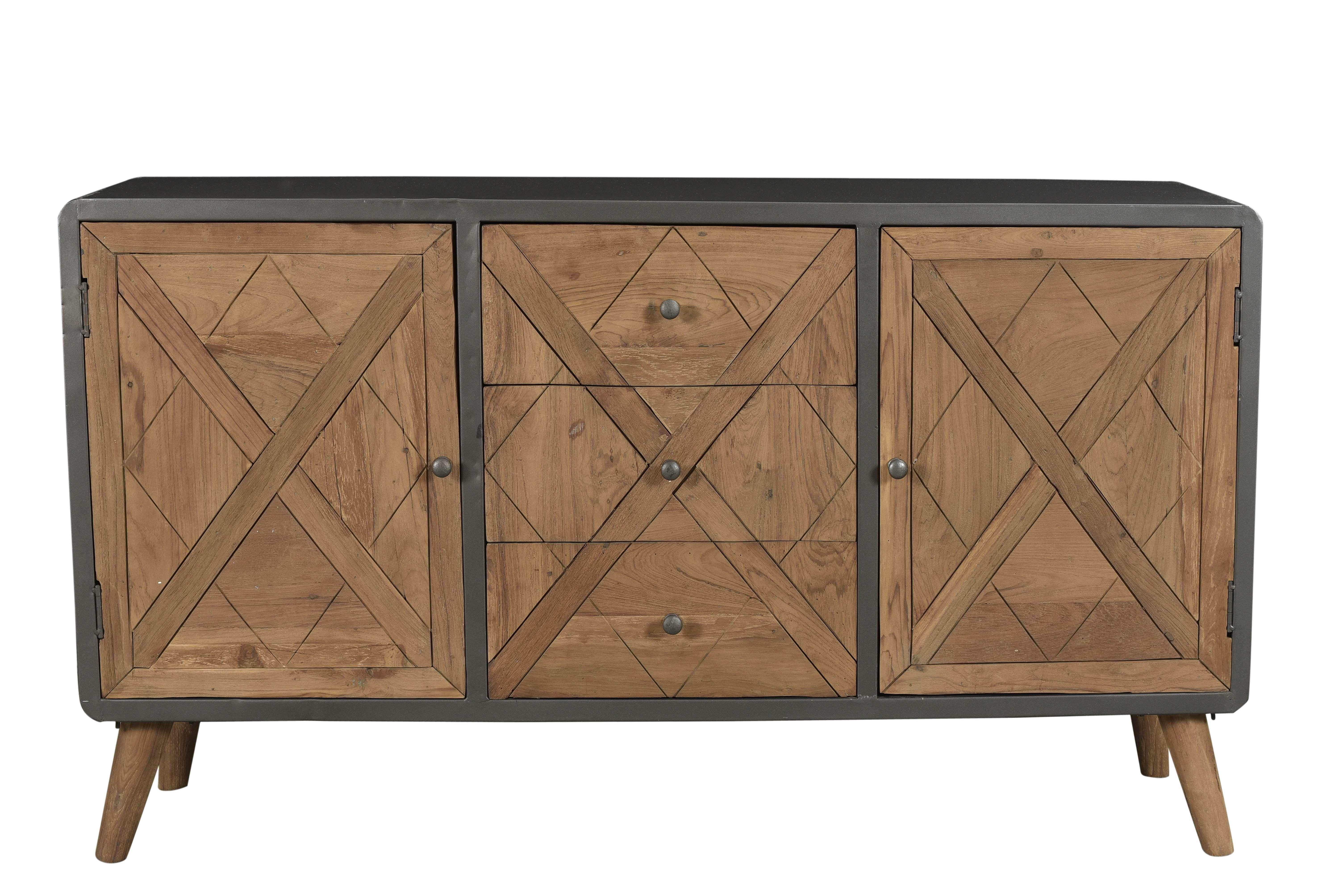 Sideboard Krysse mit 2 Türen aus recyceltem Teakholz