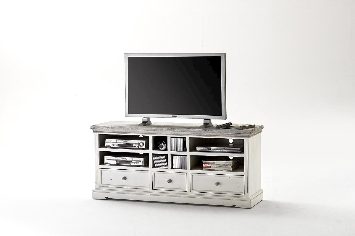 TV-Unterschrank Olio 163 cm Kiefer Massiv Weiß