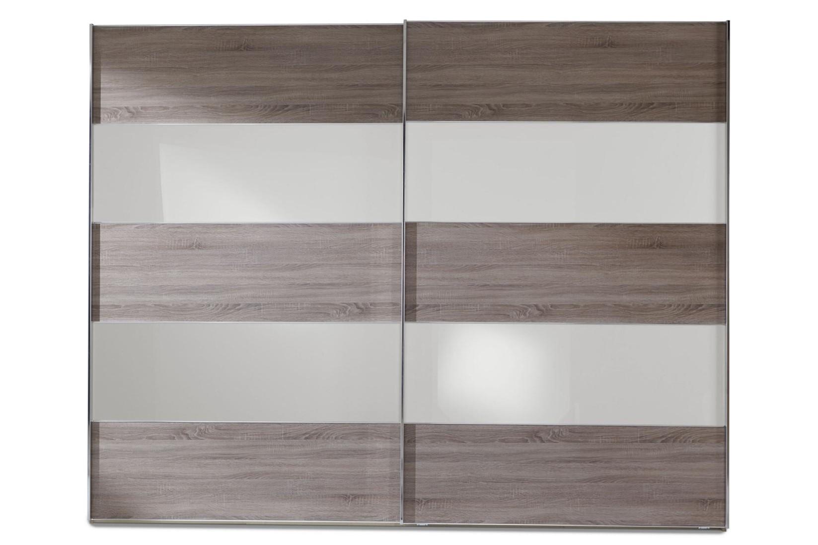 Schwebetürenschrank Genius in Trüffeleiche und Glas Weiß in 300 x 217 cm