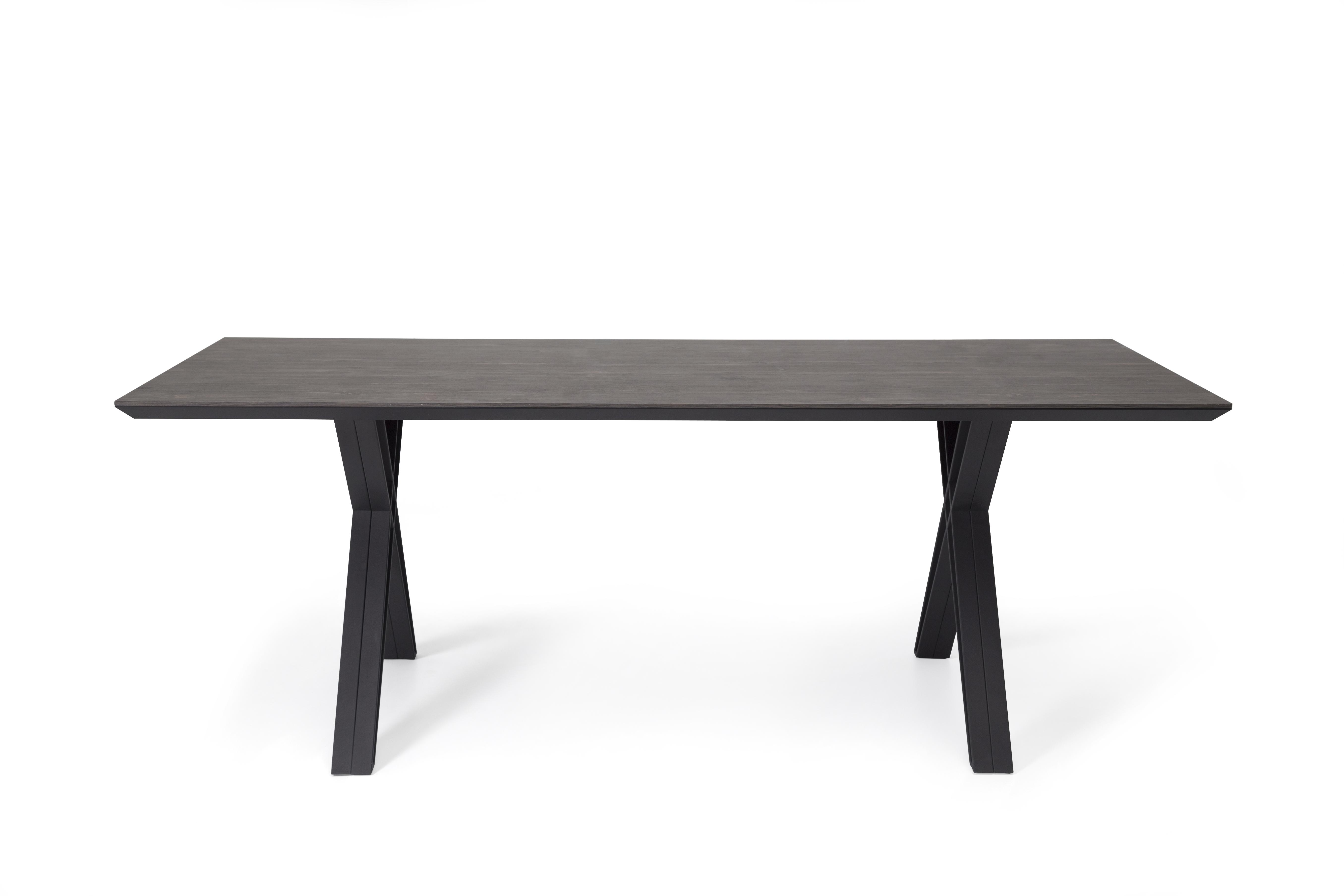 Ovali Konferenztisch Cross Schwarz Holzoptik 210x90 cm