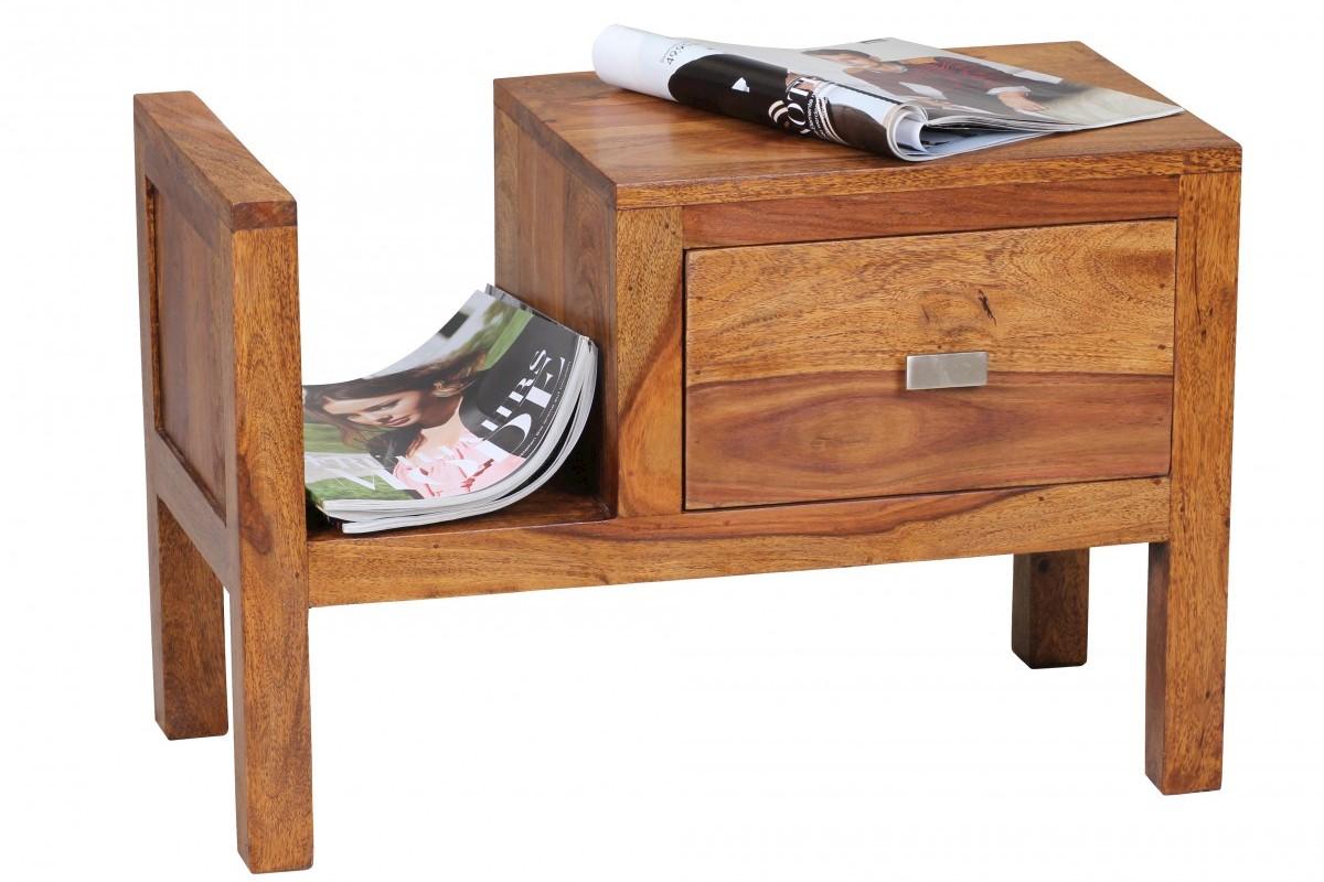 Sheesham Massivholz Nachtkonsole mit Schublade und Zeitungsablage 60 x 30 x 40 cm
