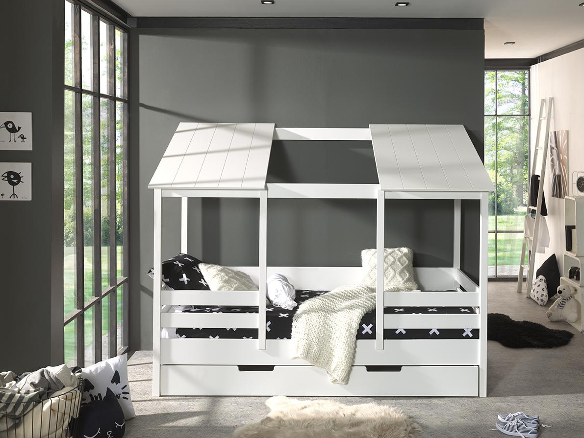 Kinder Hausbett mit Bettkasten Weiß Bonni