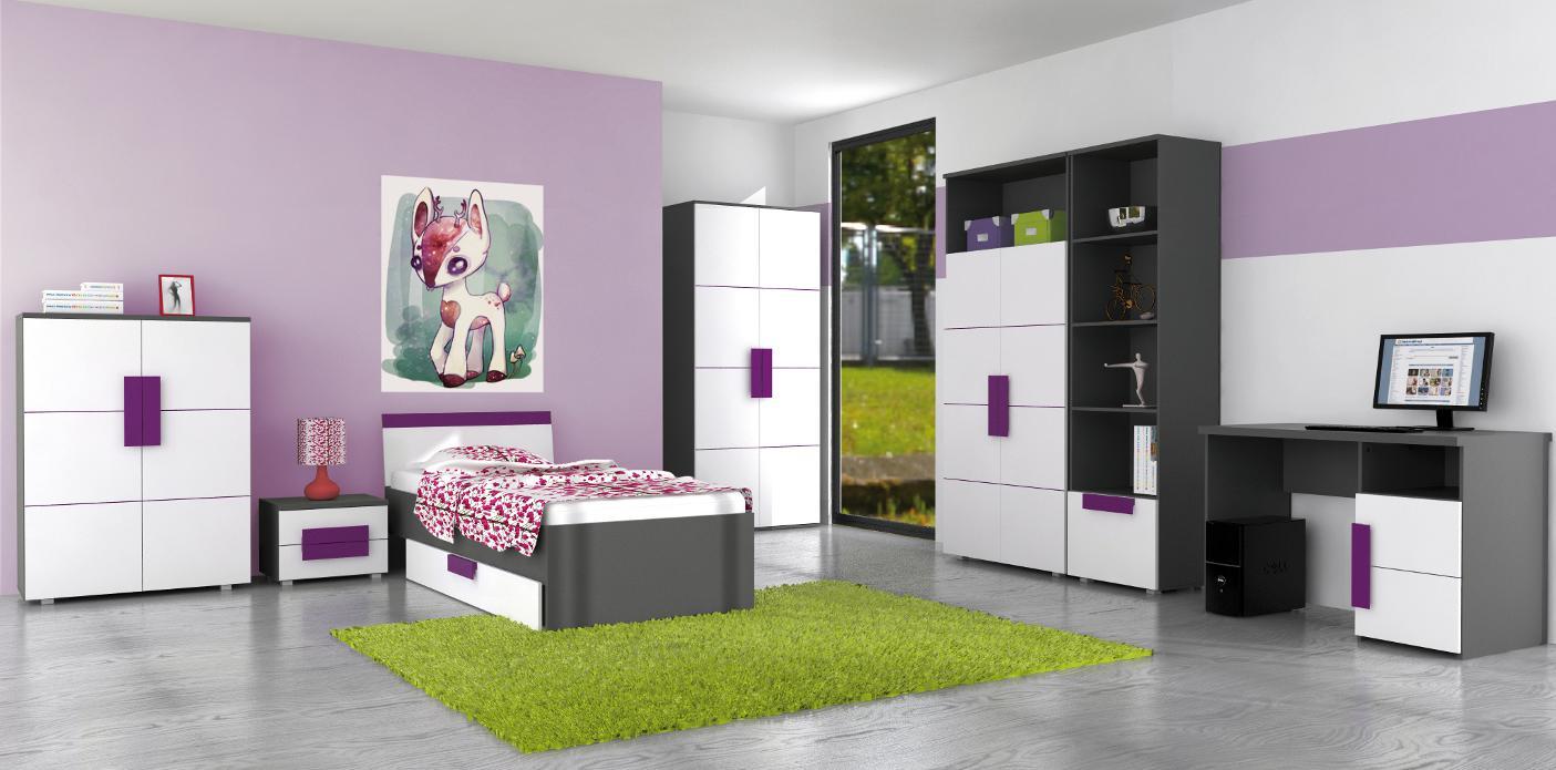 Nachttisch in Grau Weiß Violett Trinity