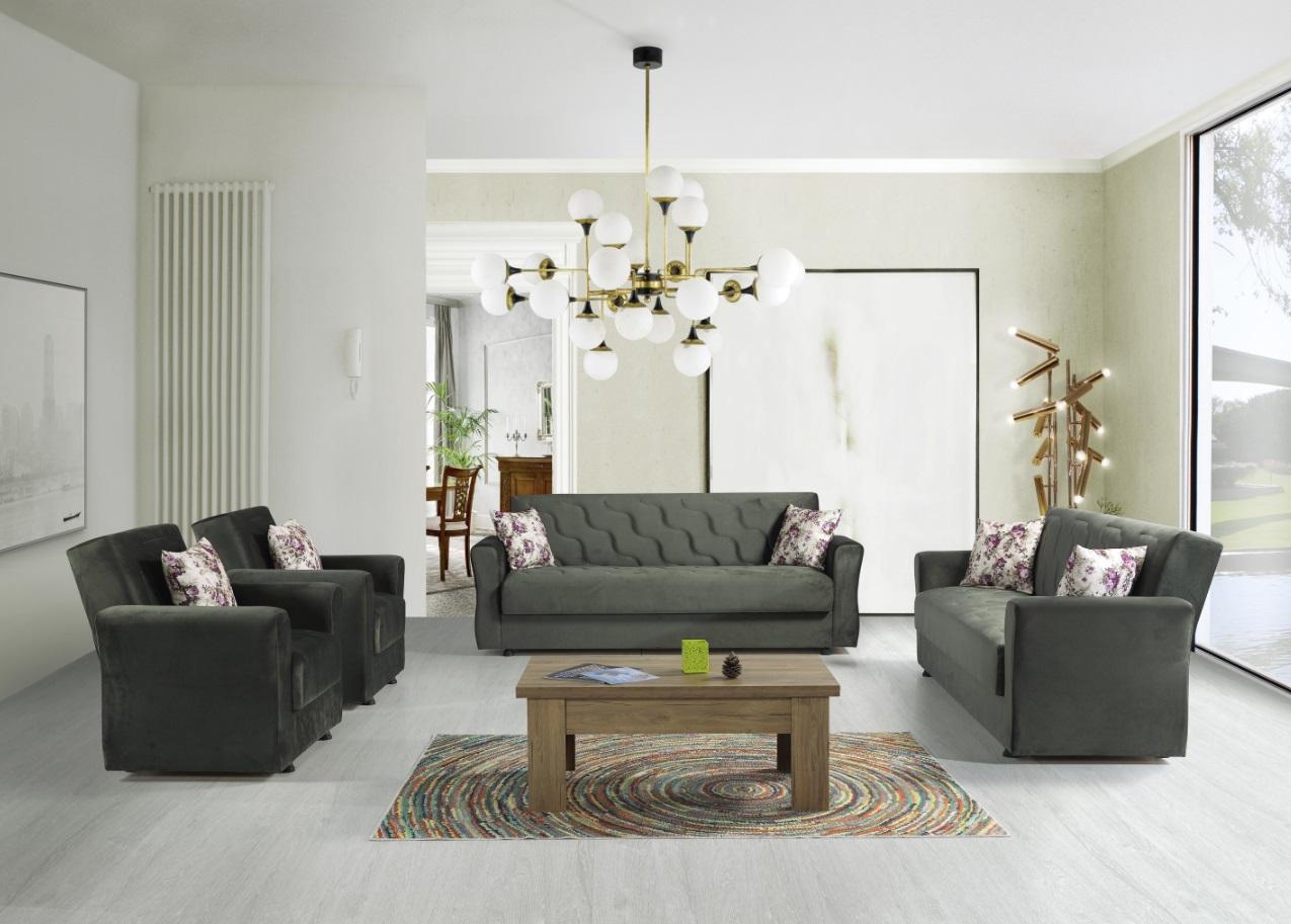 Windy Sofa Garnitur mit Stauraum in Grün Milan
