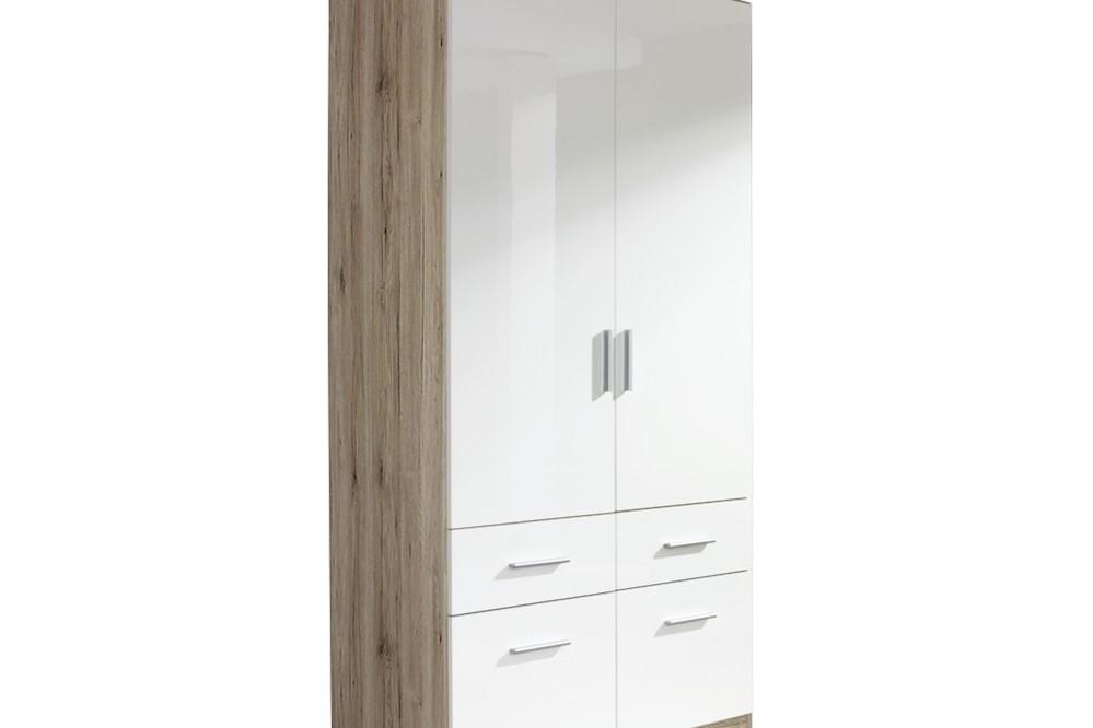 Drehtür-Kombischrank CELLE II  weiß / Eiche Sanremo 91 x 197 x 54 cm