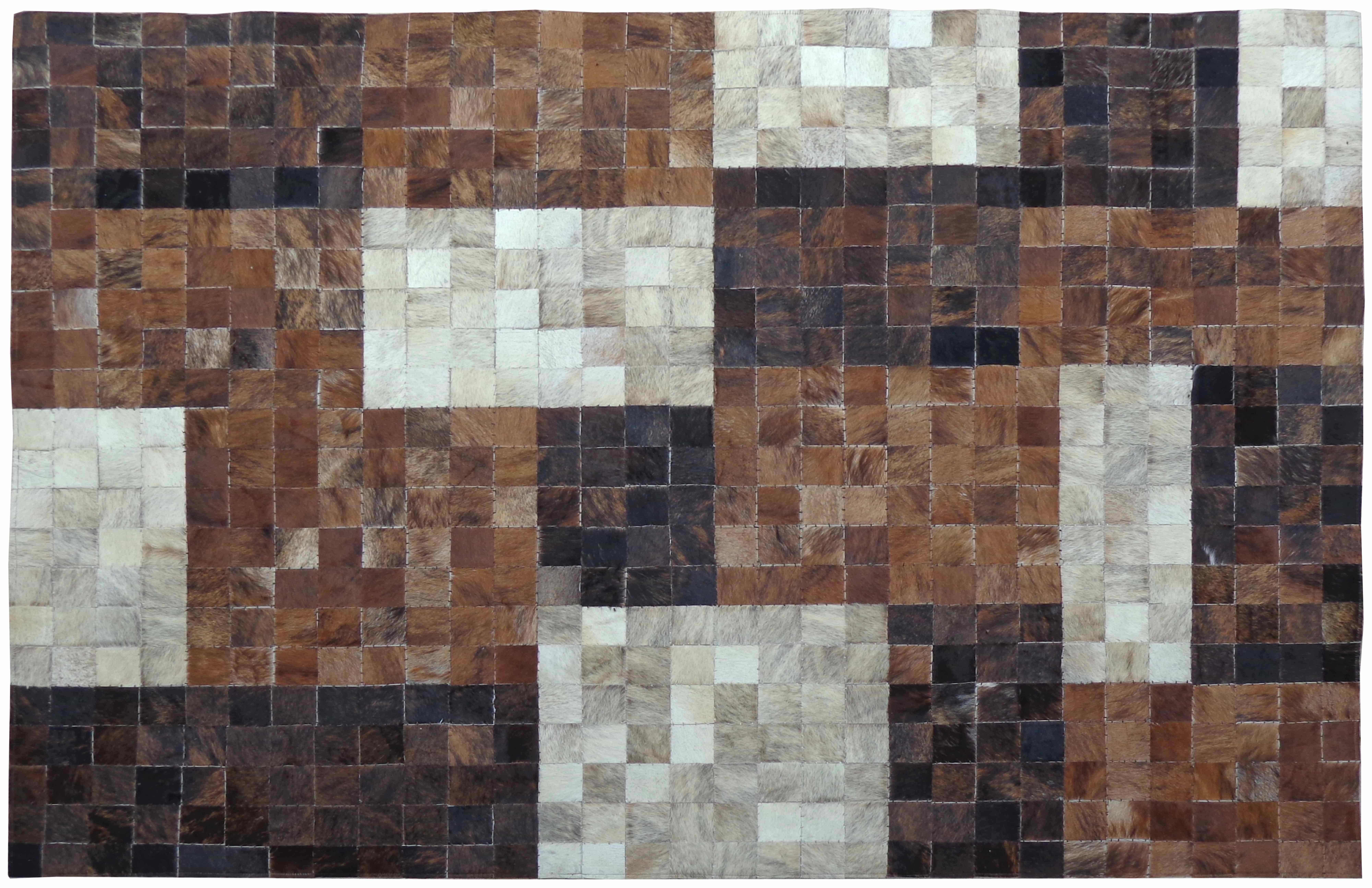 Kuhfell Teppich Minor Braun gefärbt auf Leder