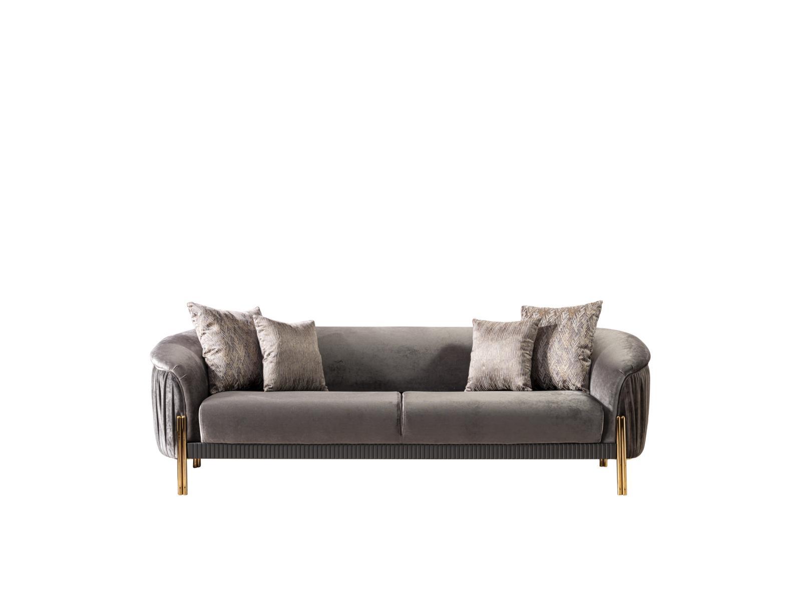Weltew Couch Florya Grau 3-Sitzer mit Schlaffunktion
