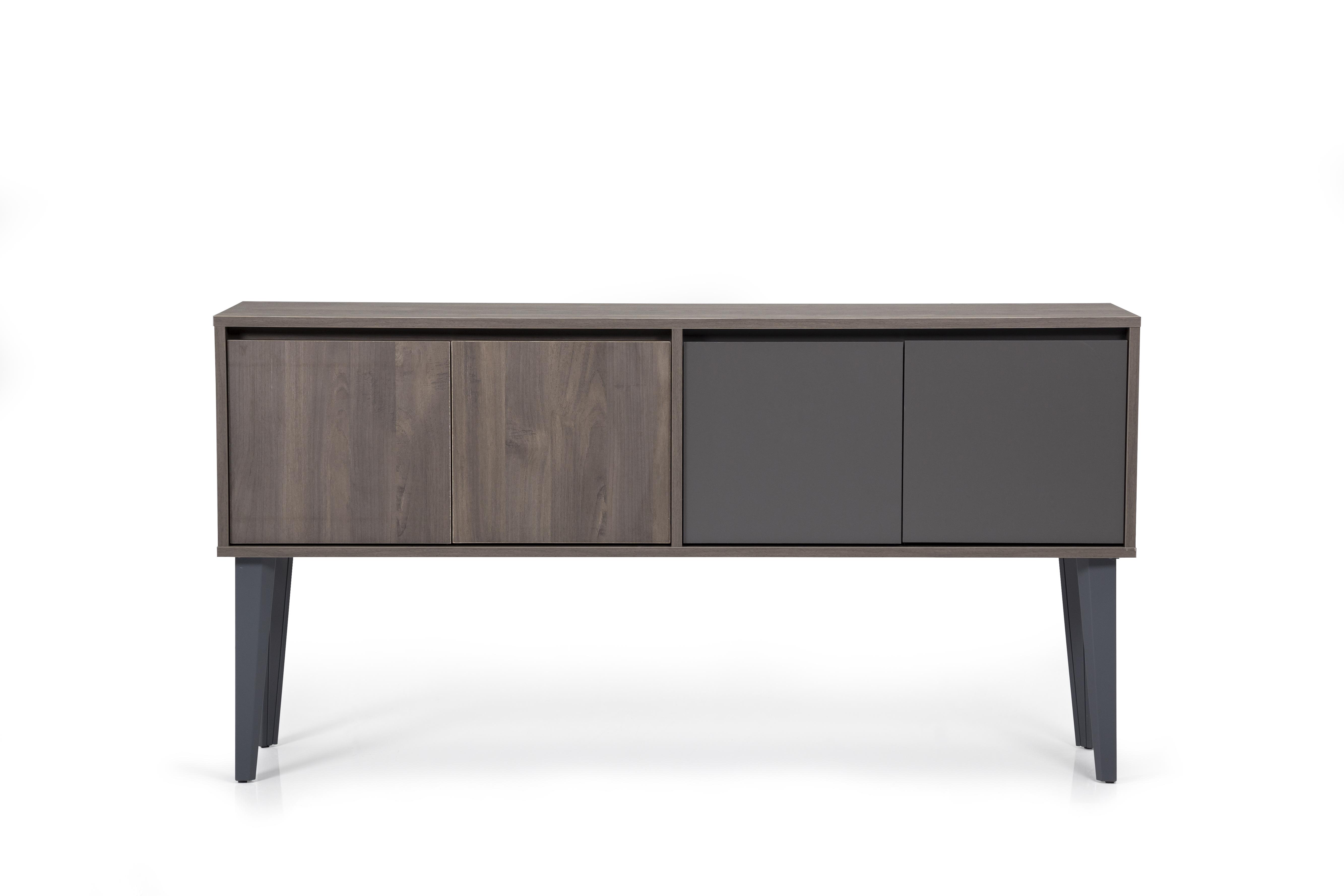 Ovali Sideboard 4-türig Iconlux Grau Holzoptik