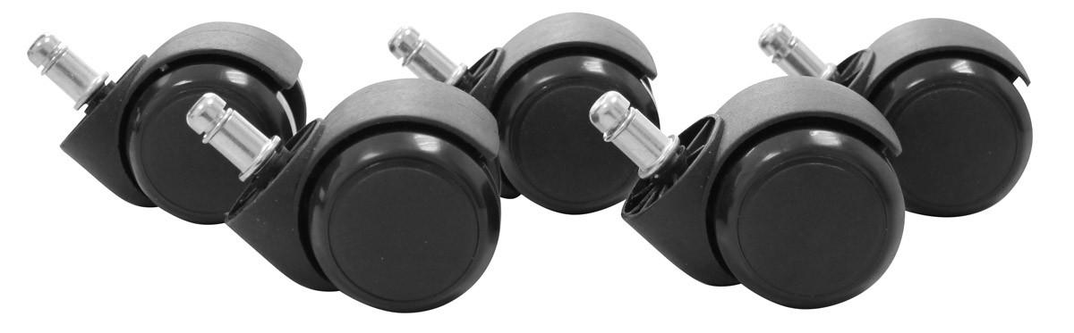 5er Set Hartbodenrollen Schwarz 11 / 50 mm für harte Böden (hoch abriebfest)