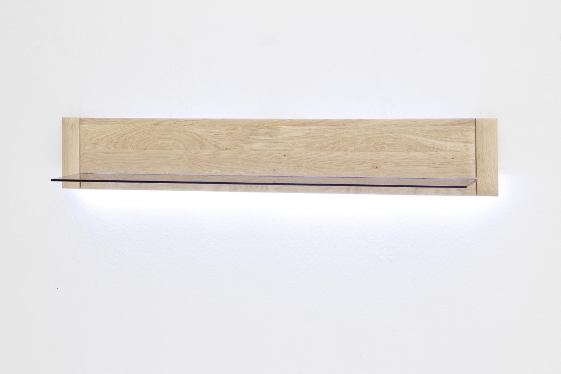 Torro Wandregal Bianco Eiche mit 1 Glasboden