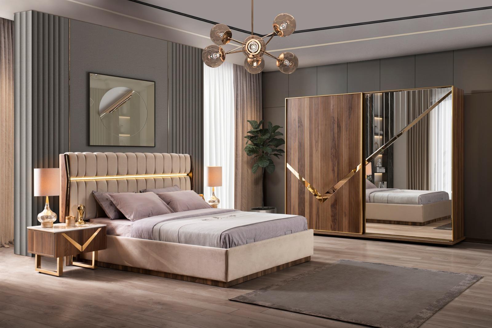 Lake Schlafzimmer Venus Gold Set Holzoptik 4-teilig