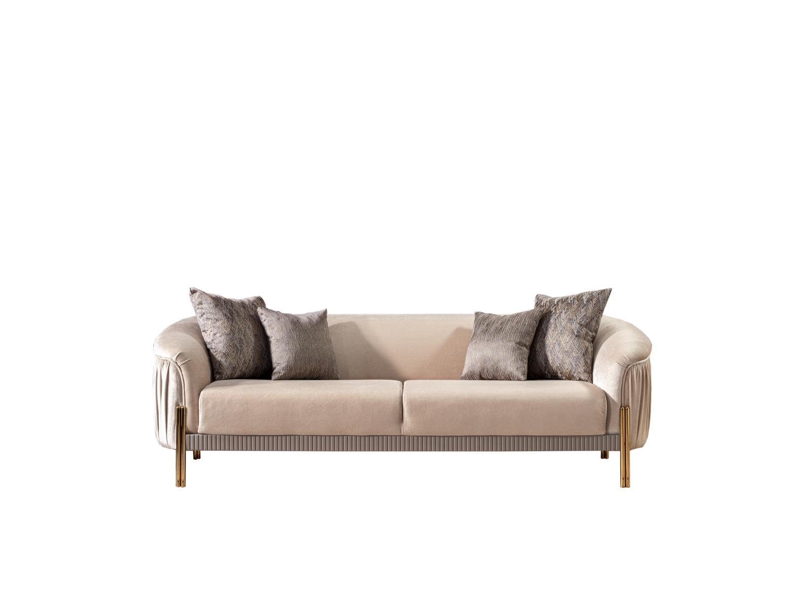 Weltew Couch Florya Beige 2-Sitzer mit Schlaffunktion
