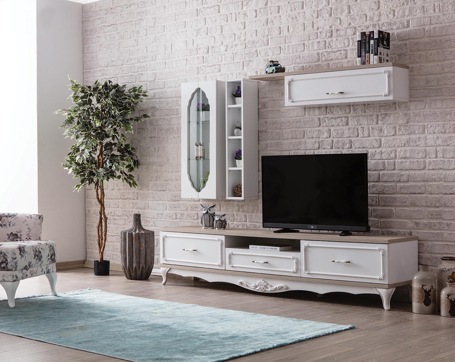 Weltew Wohnzimmer Wand 4-teilig Natalee Weiß