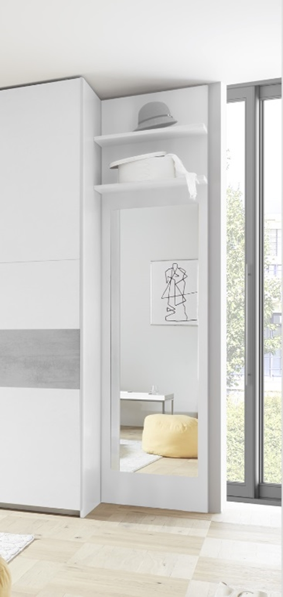 Garderobenpaneel in Weiß matt Luana 2x Regalboden
