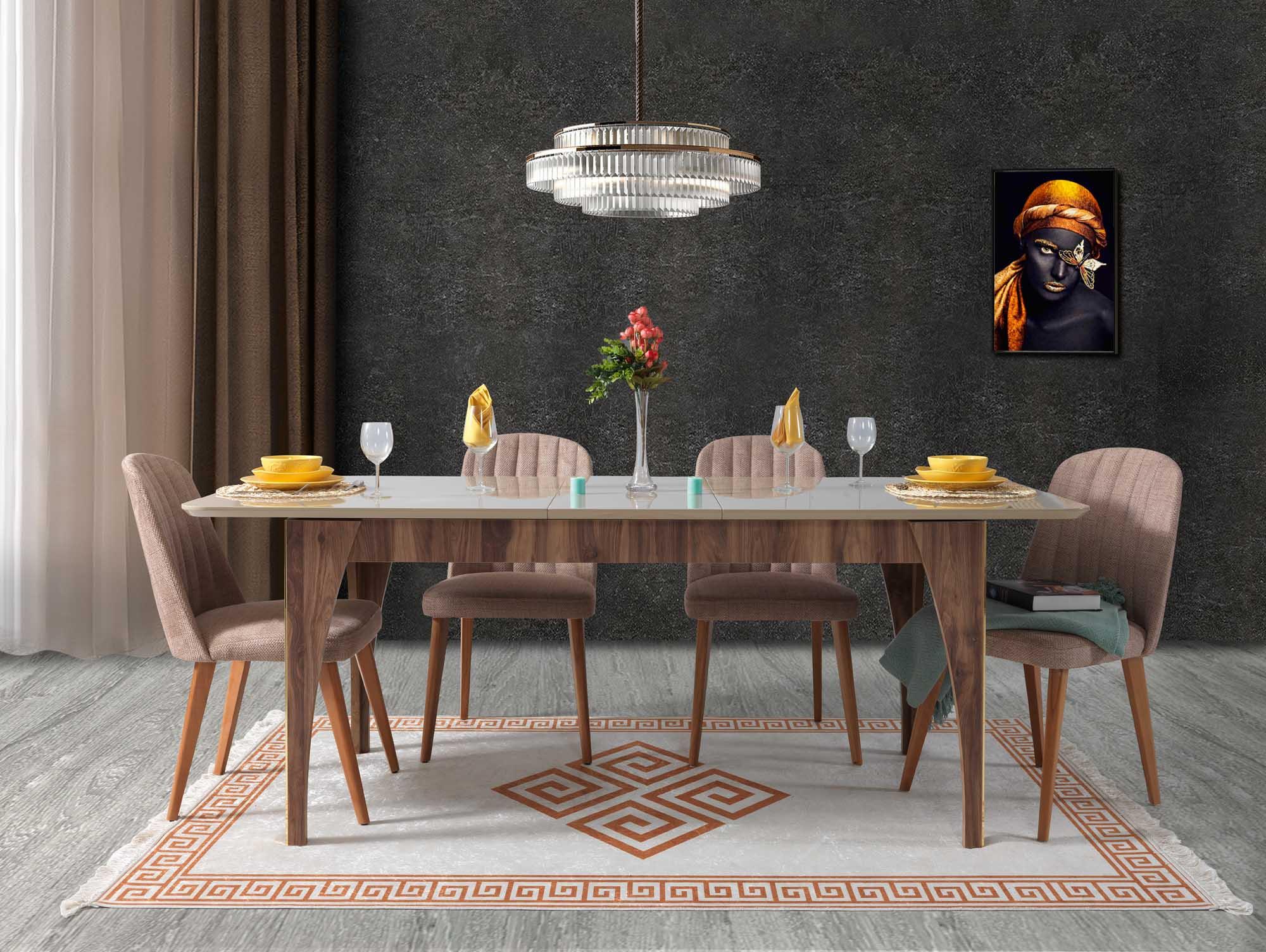 Lidya ausziehbarer Tisch Tower mit 4 Stühlen