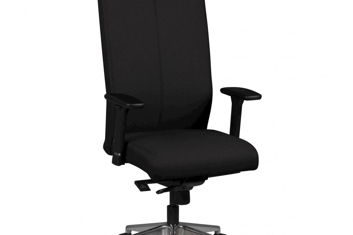 Chefsessel Adrian schwarz Stoffbezug Drehstuhl mit Kopfstütze