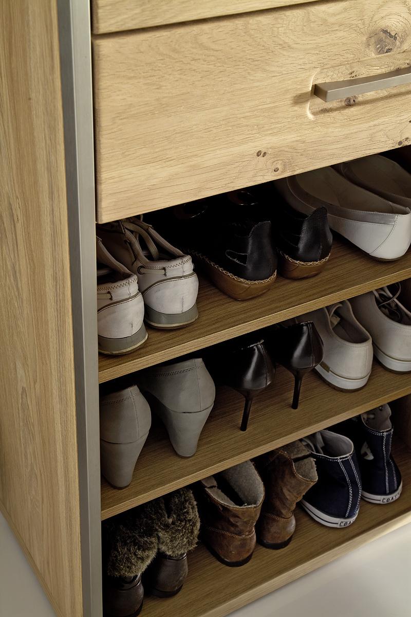 Schuhschrank Meja mit 3 Türen Asteiche Bianco massiv