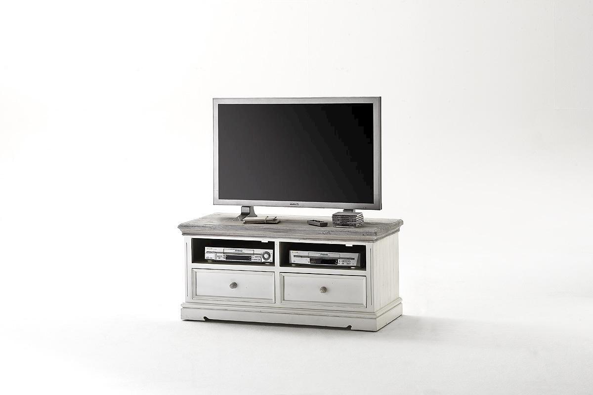 TV-Unterschrank Olio 121 cm Kiefer Massiv Weiß