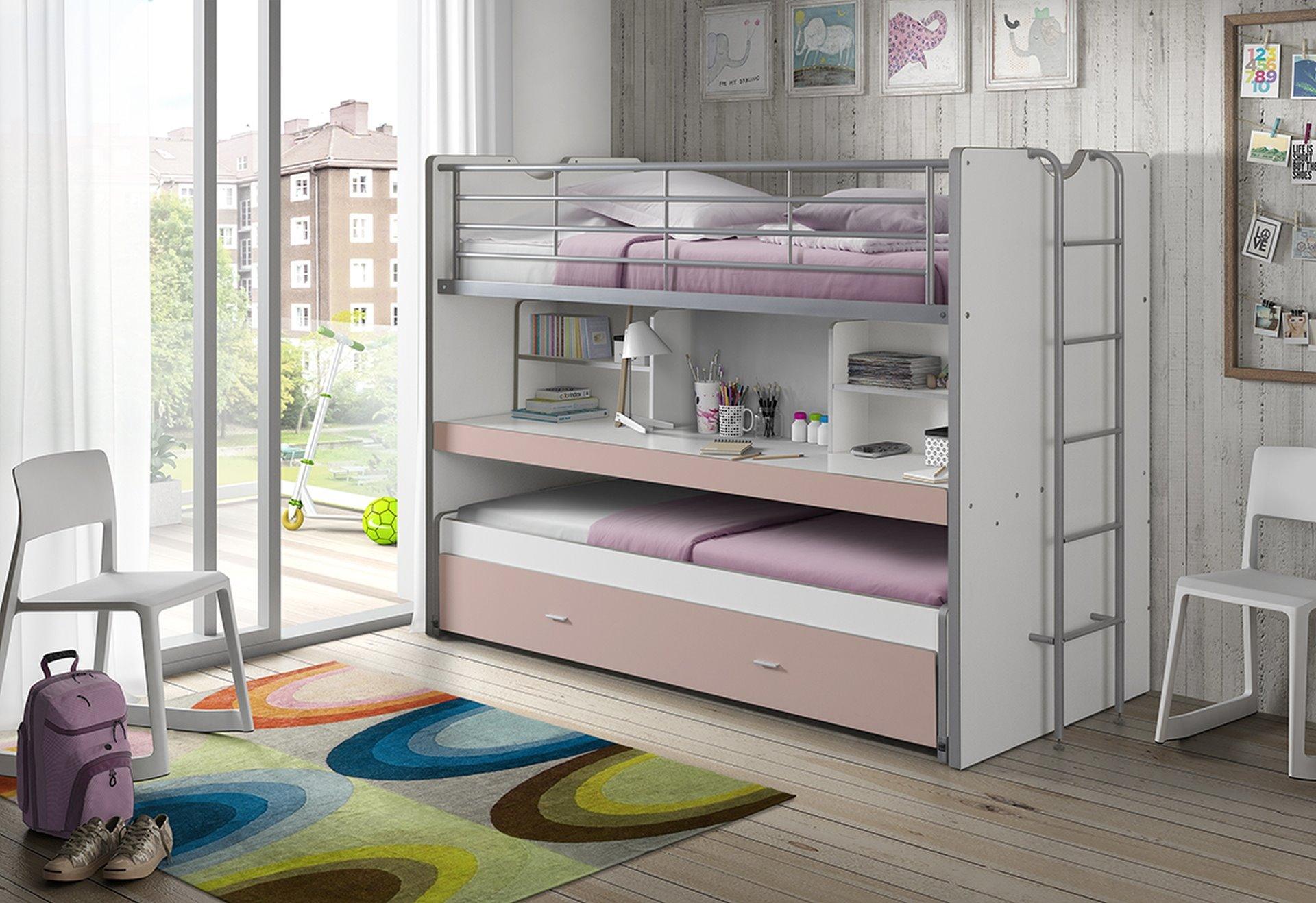 Bonny Hochbett mit Schreibtisch 90x200 in Rosa