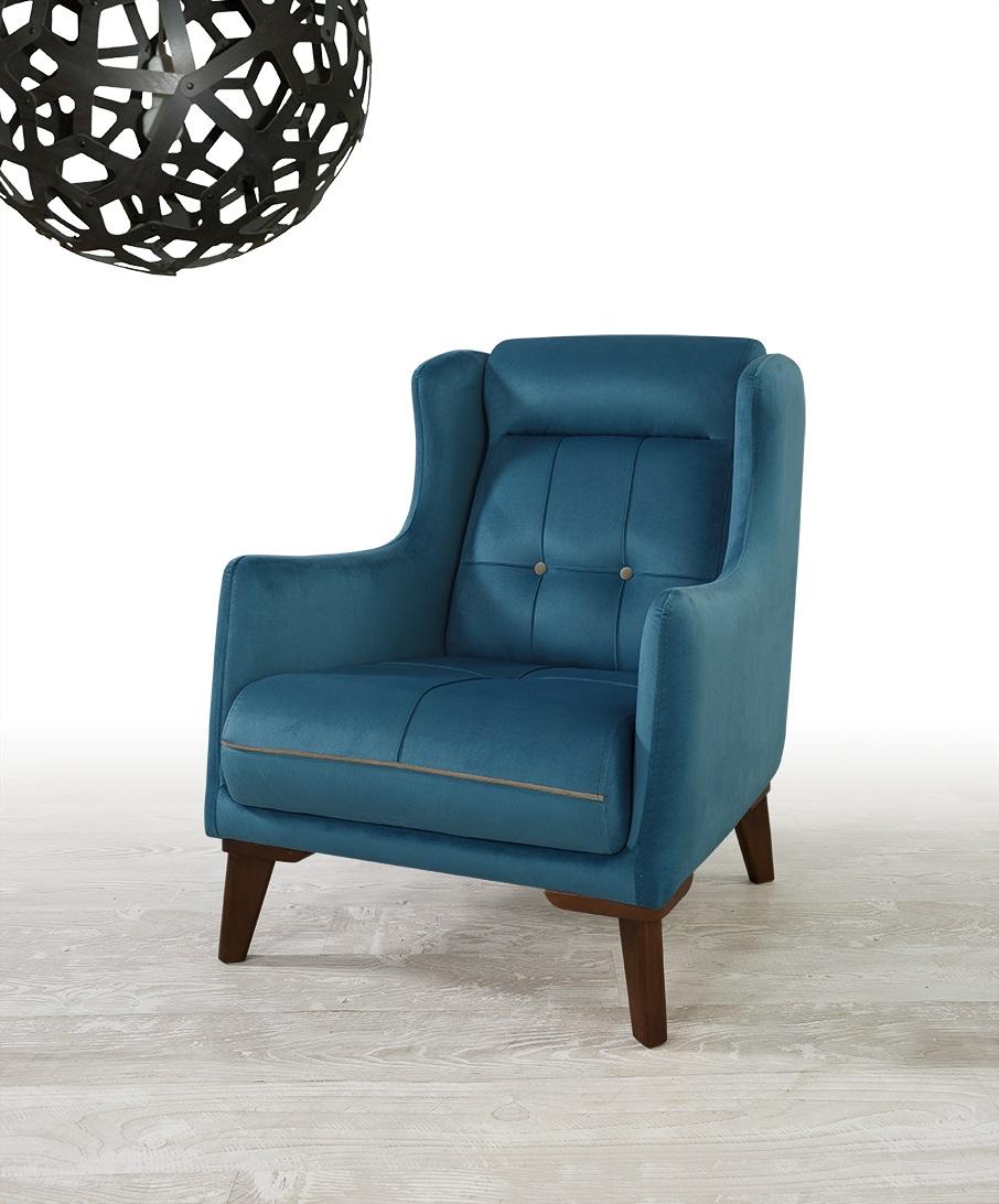 Design Sessel gepolstert Samt Blau Mury
