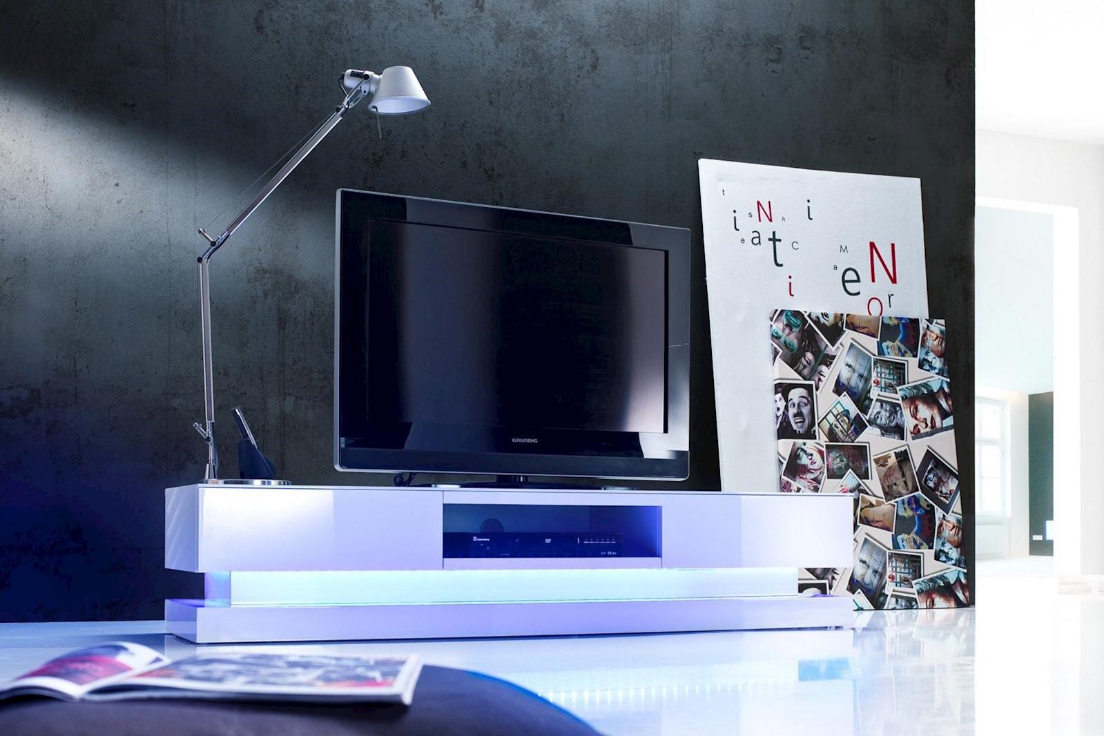 Media-TV-Element Step weiß mit LED inkl. Fernbedienung