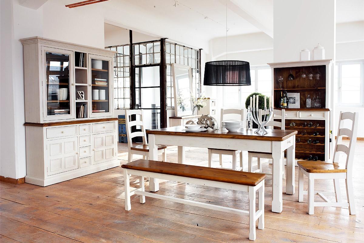Bode Sideboard Landhausstil Kiefer massiv weiß