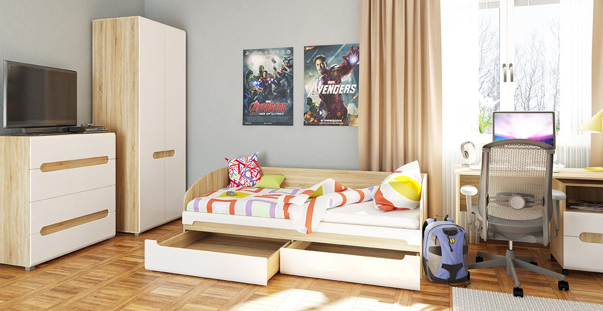 Jugendzimmer mit Stauraumbett Leonardo 5-teilig