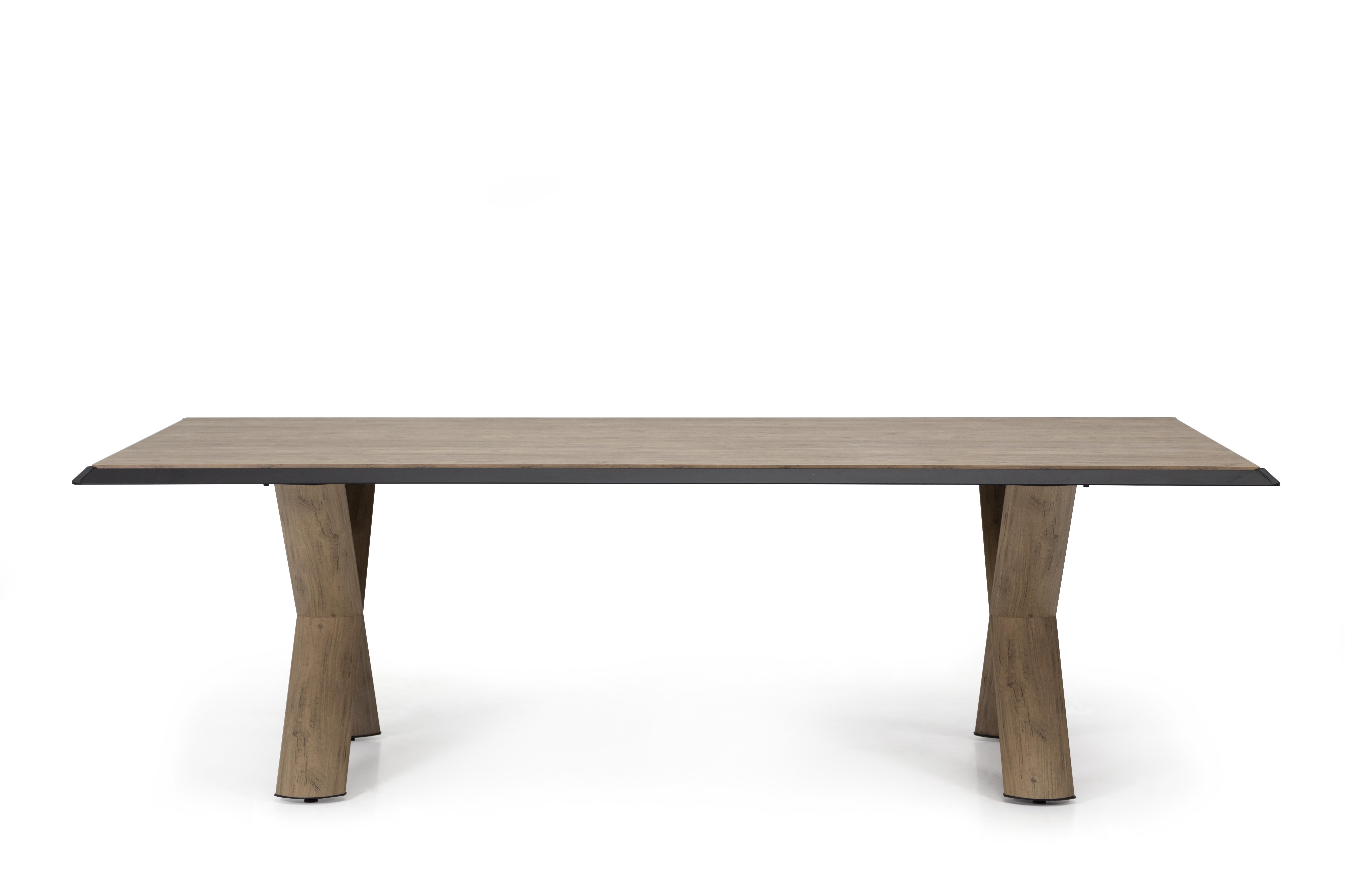 Ovali Konferenztisch 2-beinig Vinil Holzoptik