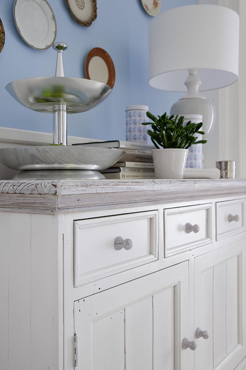Sideboard Olio 2-türig Kiefer Massiv Weiß